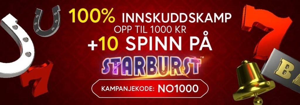Jaak Casino-100% Velkomstbonus på opptil 1000 kr og 10 free spins