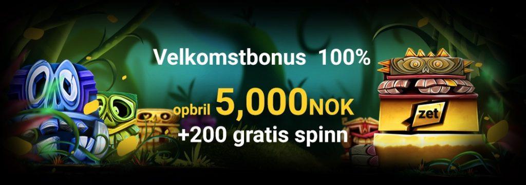 100% bonus opp til 5.000 kr og 200 gratis spinn