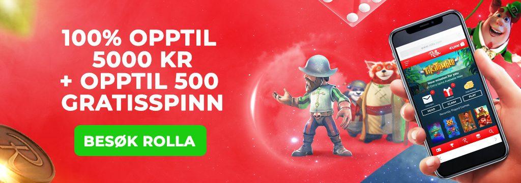 Rolla-100% opptil 5000 kr + 500 gratisspinn