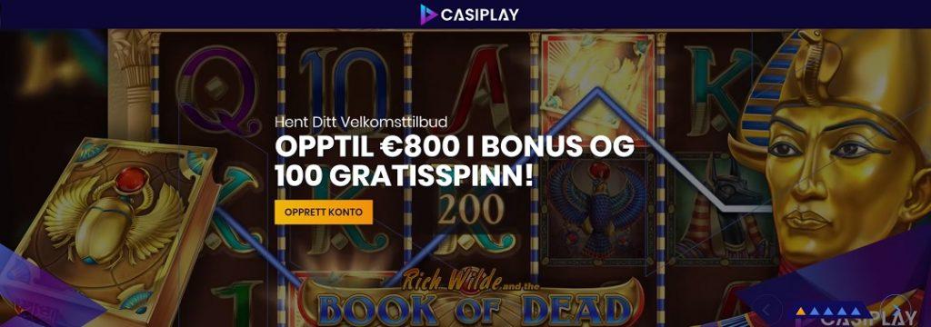 Casiplay Casino - 100 gratisspinn og 8.000 kr bonus