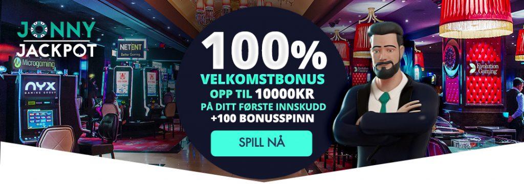 Jonny Jackpot - Velkomstbonus 10.000 kr + 100 bonusspinn