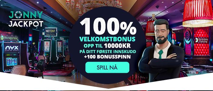 Jonny Jackpot - Velkomstbonus 10.000 kr og 100 bonusspinn