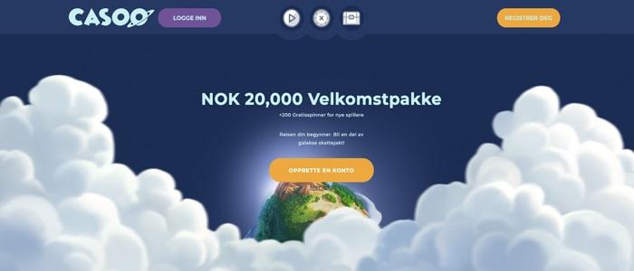 Casoo - 20.000 kr Velkomstpakke + 200 spinn