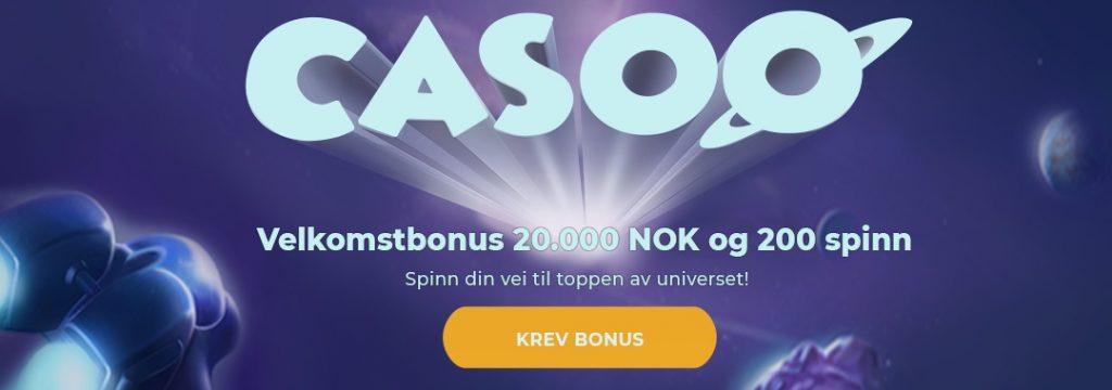 Casoo - Velkomstbonus 20.000 kr + 200 spinn