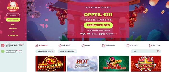 Maneki Casino - 3.333 kr i bonuspenger og 99 gratisspinn