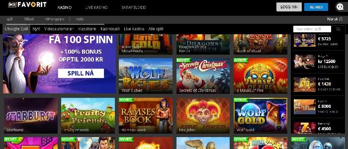 MrFavorit casino - Motta 100 gratisspinn + 2.000 kr bonus