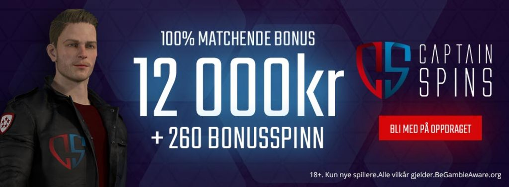 Captain Spins - 12.000 kr bonus + 260 gratisspinn